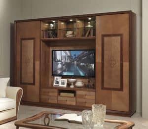 arredo zona giorno divisorio componibile in legno classico di lusso idfdesign