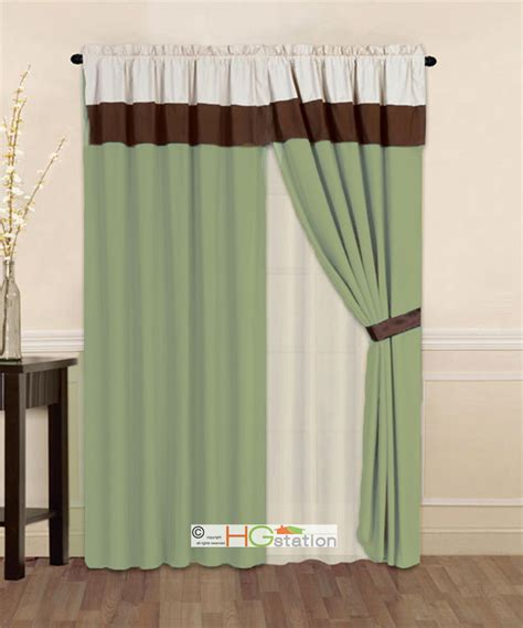 sage curtain 4 pc striped solid modern curtain set sage green brown