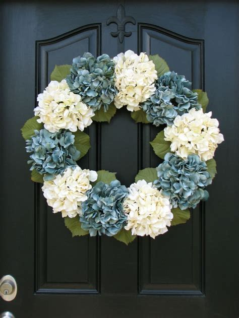 hydrangea home decor summer wreaths blue hydrangea wreath spring decorations