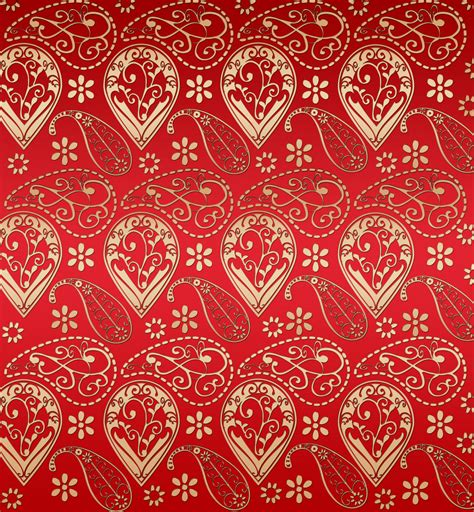 Gold Red Pattern | red and gold effect paisley pattern free stock photo