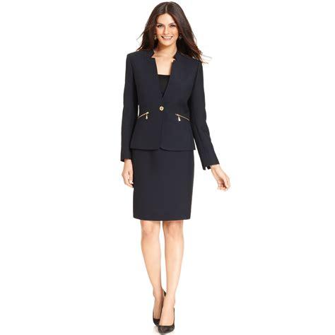 tahari by asl zipper pocket skirt suit in blue lyst