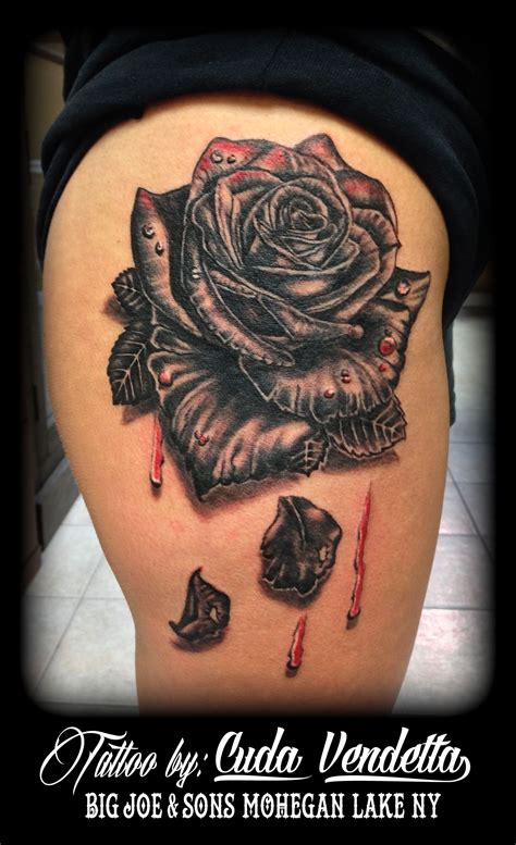 big rose tattoo tattoos by cuda vendetta bleeding black for