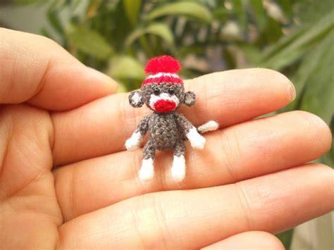sock monkey 1 inch pom pom hat tiny crochet miniature sock