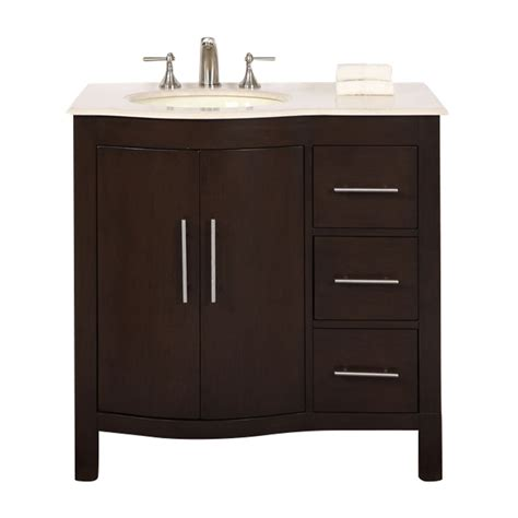 36 In Bathroom Vanity With Top Shop Silkroad Exclusive Walnut Undermount Single Sink Bathroom Vanity With Top