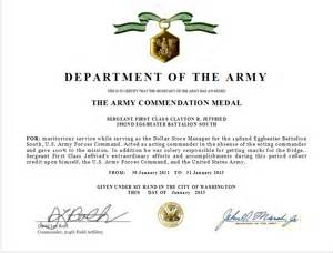 Air Commendation Medal Template by Write An Army Commendation Medal