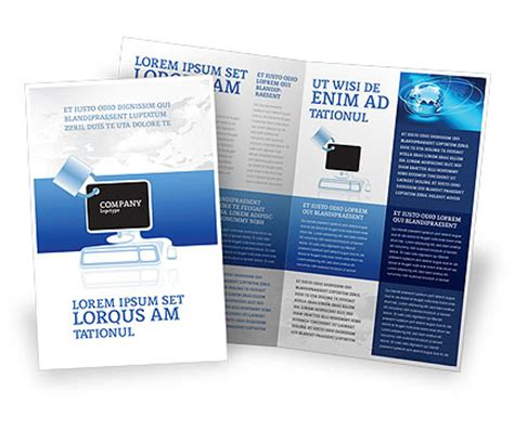 computer shield software brochure template design and