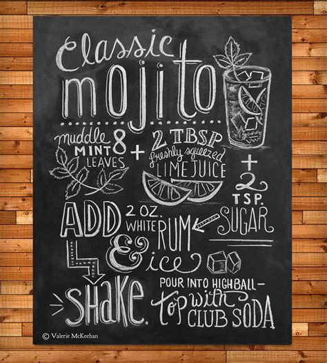 typography print mojito recipe chalkboard print prints posters val scoutmob product detail
