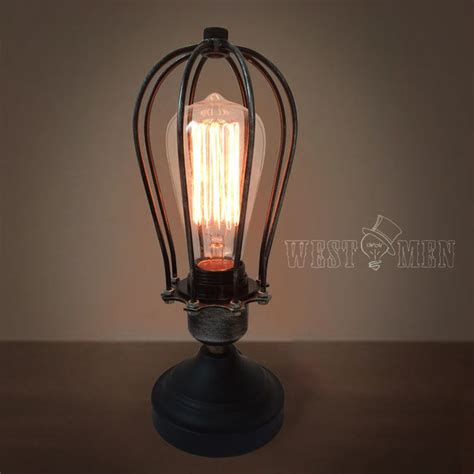 edison style cage table edison cage table ls midcentury desktop lights squirrel