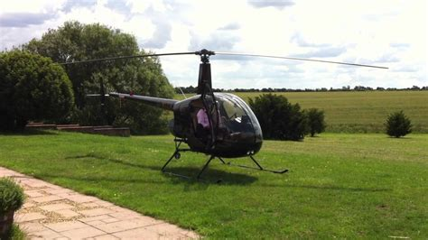 backyard helicopter robinson r22 helicopter start up in the garden youtube