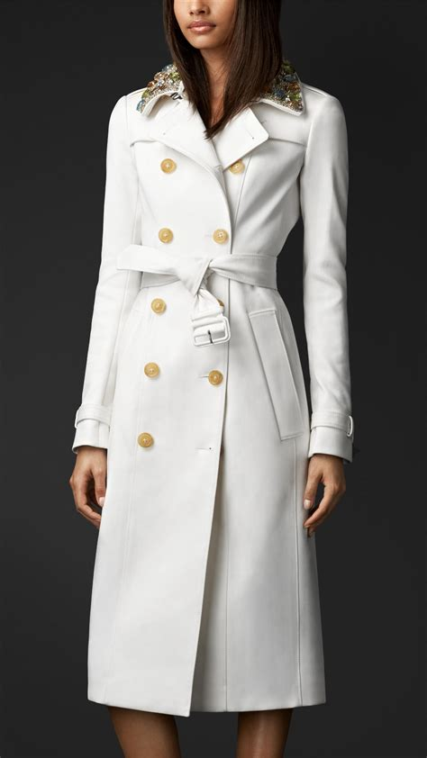 Coates Design by Burberry Gem Collar Trench Coat In White Lyst