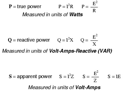 power of a capacitor equation true reactive and apparent power power factor