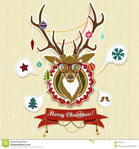 imagenes de feliz navidad hipster vintage christmas card with deer stock vector image