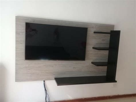 wall mounted tv stand  black shelves