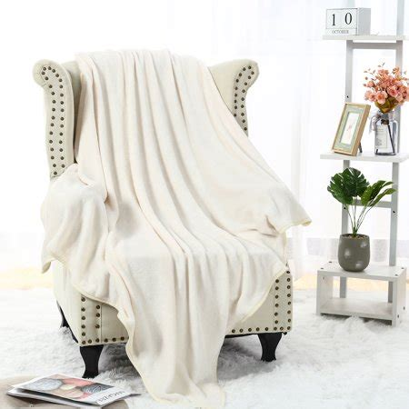 soft warm flannel fleece blanket solid  white sofa