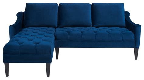 emily velvet sectional sofa navy blue modern