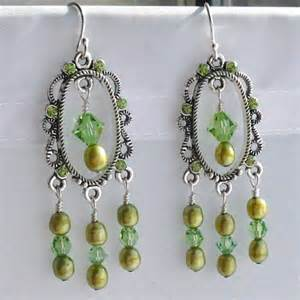 Crystal And Pearl Chandelier Earrings Swarovski Peridot Crystal And Peridot Pearl Chandelier