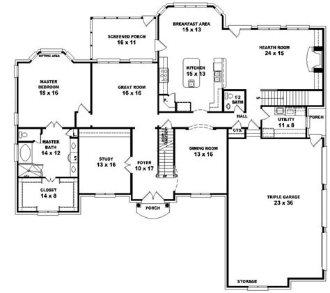 4 bedroom floor plans 2 story 654043 two story 5 bedroom 4 5 bath traditional style house plan house plans floor