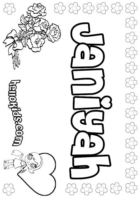 coloring pages for names janiyah coloring pages hellokids