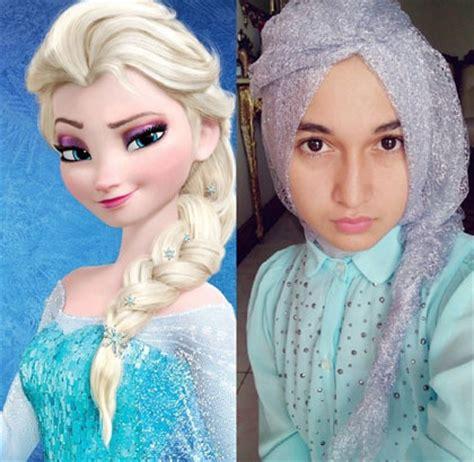 tutorial gaya rambut elsa frozen hijab style 5 hijabers bergaya ala elsa frozen miulan
