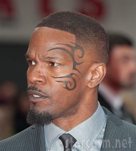 photo jamie foxx with mike tyson face tattoo for upcoming