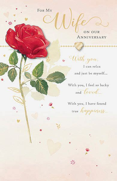 wife rose wedding anniversary card