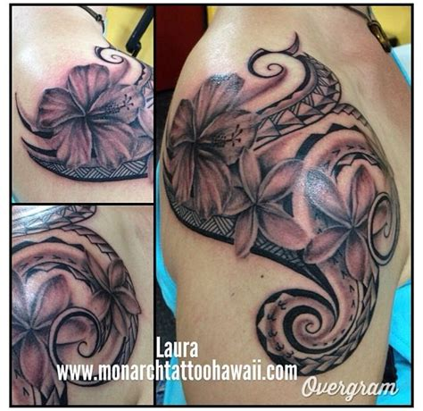 tattoo cover up oahu polynesian tribal with hibiscus plumeria flowers