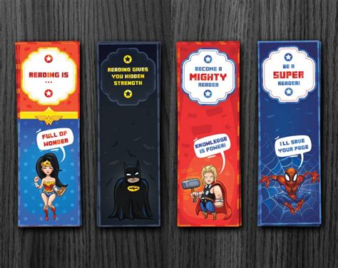 printable bookmarks superheroes superheroe bookmarks printable download