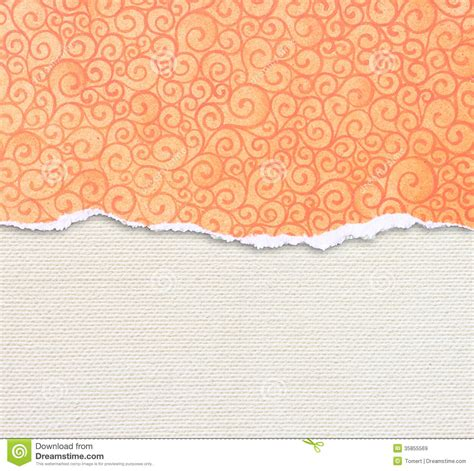 pattern over video orange torn paper edge with pattern over canvas background