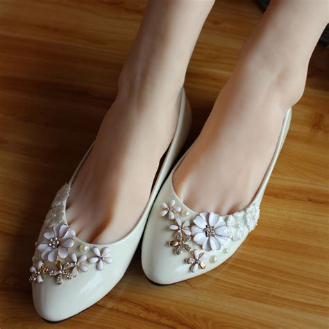 Handmade Wedding Shoes - popular white flat bridal shoes buy cheap white flat