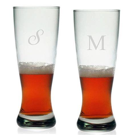 monogrammed barware susquehanna grand pilsner glasses initial set of 4