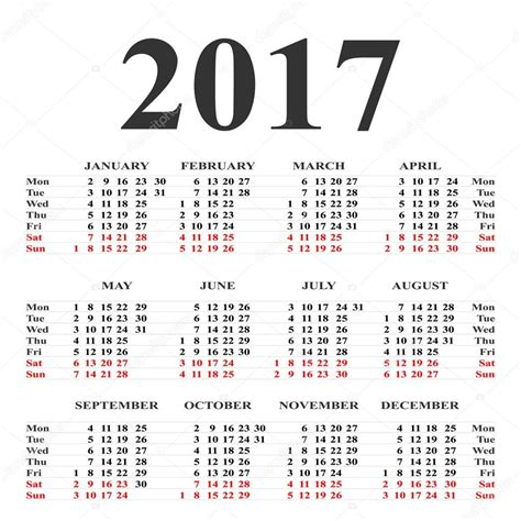 Calendario En Blanco 2017 Calendario Para 2017 En Fondo Blanco Calendario De Vector