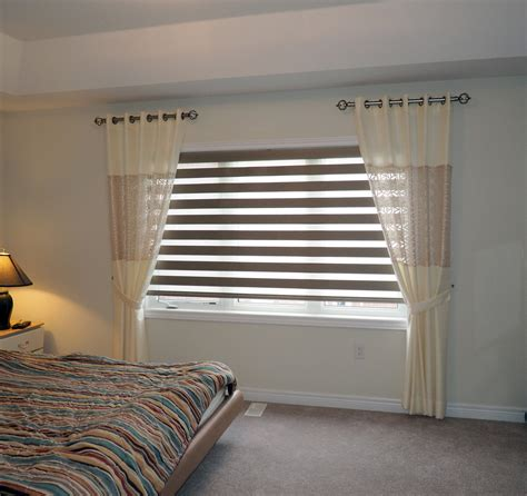 blinds and curtains eyelets curtains with duplex blinds of bedroom dubai