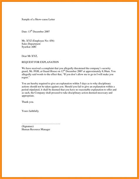 Explanation Letter Reply For Absence letter format for reply to show cause notice best of 9 explanation letter format ssoft co new