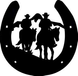 horseshoe w cowboys decal custom wall graphics