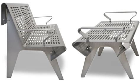 Landscape Forms Pangard Ii Perforated Steel Outdoor Bench By Landscape Forms