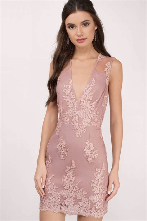 Id Pink Lace Dress mauve dress v dress pretty pink dress bodycon