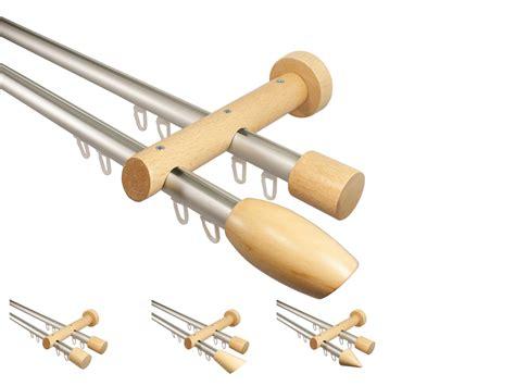 gardinenschiene alu 2 laufig innenlauf gardinenstange 2 l 228 ufig aus aluminium und buche