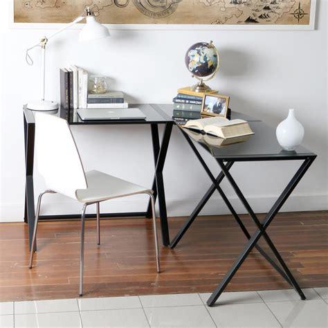glass l shape computer desk with silver frame finish ameriwood corner desk with 2 shelves in black ebony ash