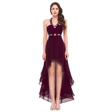 Jc Longdress V Back 132 aliexpress buy halter high low v neck evening dress black light blue burgundy