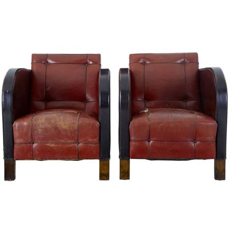 leather club armchairs pair of art deco leather club armchairs for sale at 1stdibs