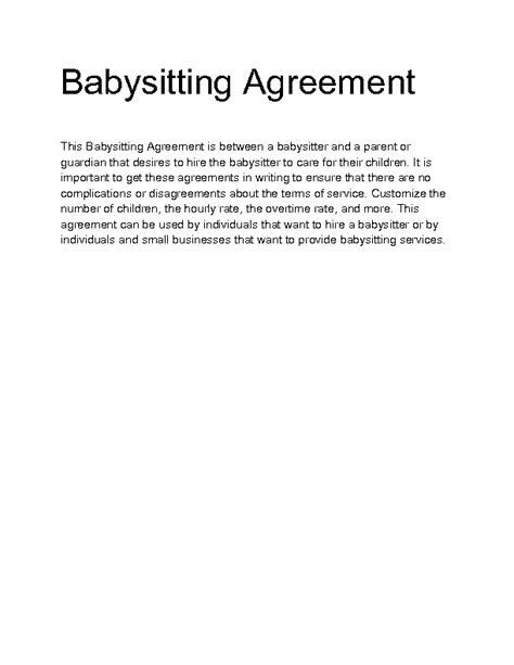 babysitting contract template babysitting contract template welcome to docs 4 sale