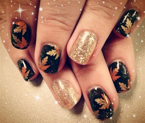 Hair Style Gel Typing by Picture Of Black Nails With Maple Leaves And Giltter Accents