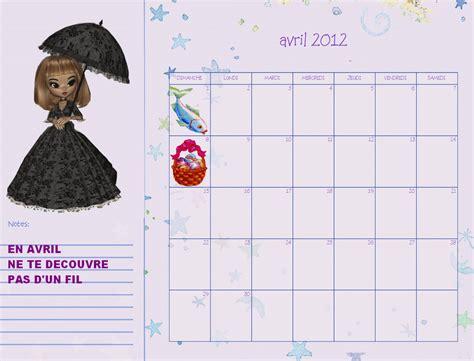 Calendrier Avril 2012 Avril 2012