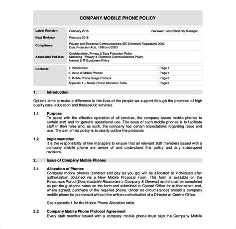 company cell phone policy template 29 policy templates in pdf free premium templates
