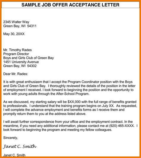 Acceptance Offer Letter Sle school program acceptance letter template 100 images