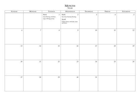 latex templates monthly calendar