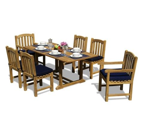 Teak Garden Dining Sets Teak 5ft Garden Dining Table And 6 Clivedon Chairs Set