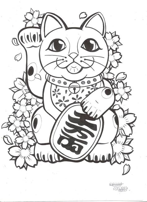 lucky draw tattoo lucky cat commission by ravenssouldesigns