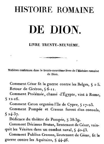 DION CASSIUS : livre XXXIX (traduction)