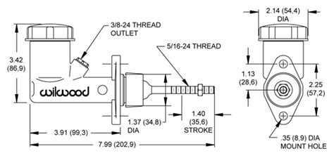 hydraulic handbrake diagram wilwood disc brakes master cylinders integral reservoir